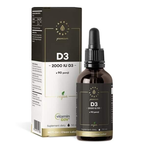 D3 2000 Vegan Aura Herbals, krople 50ml